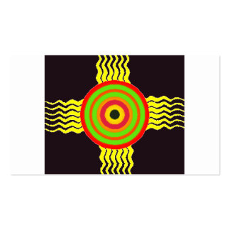 Bulls eye graphic with yellow strikes business cards