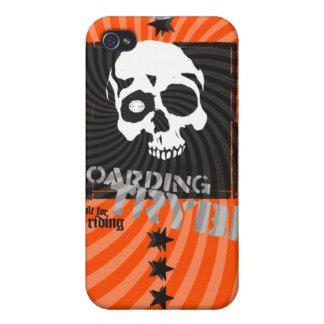 Bulls Eye Skull Skateboarder  iPhone 4 Cover