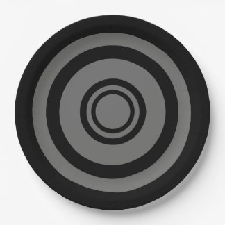 Bullseye, concentric circles - black and grey 9 inch paper plate