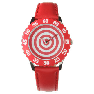 Bullseye Target Red and White Watch