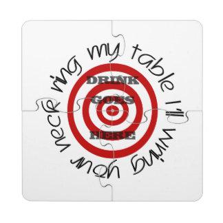 Bullseye Target with Warning Puzzle Coaster