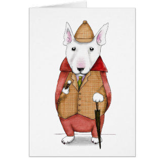 Bullterrier-gentleman watercolor illustration card