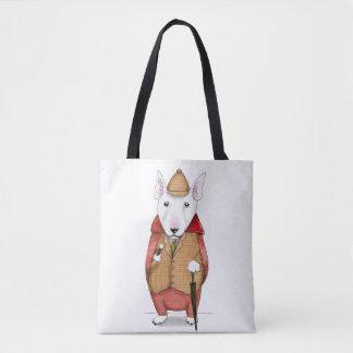 Bullterrier-gentleman watercolor illustration tote bag