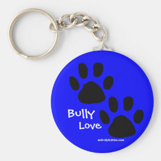 Bully Love pawprints Basic Round Button Key Ring