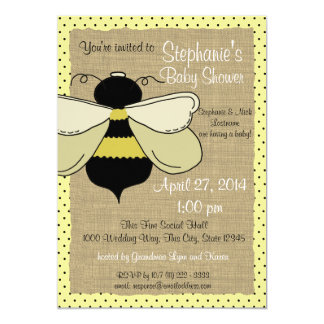 Bumble Bee and Burlap Bridal Shower 13 Cm X 18 Cm Invitation Card