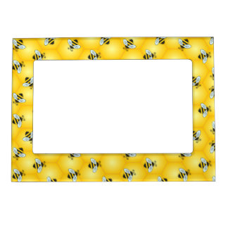 Bumble Bee and Golden Honeycomb Pattern Magnetic Picture Frame