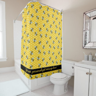 Bumble Bee and Honeycomb Pattern Shower Curtain