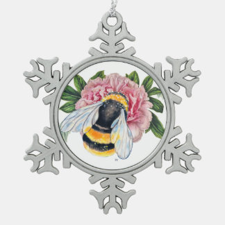 Bumble Bee And Peony Snowflake Pewter Christmas Ornament