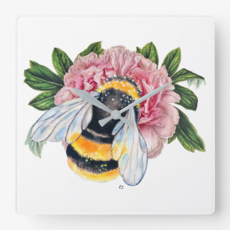 Bumble Bee And Peony Square Wall Clock