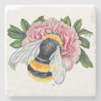Bumble Bee And Peony Stone Coaster