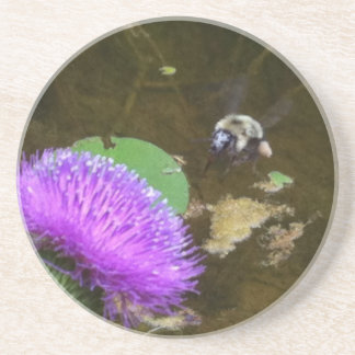 Bumble Bee and Thistle Coaster