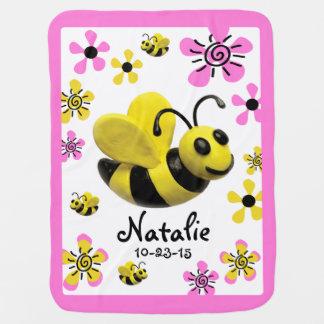 Bumble Bee Baby Girl Shower Receiving Blankets
