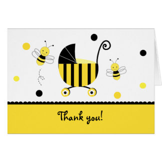 Bumble Bee Baby Shower Folded Thank you note cards