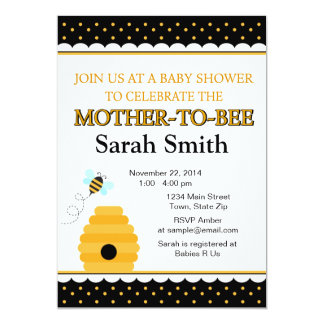 Bumble Bee Baby Shower Invitation 5x7 Card