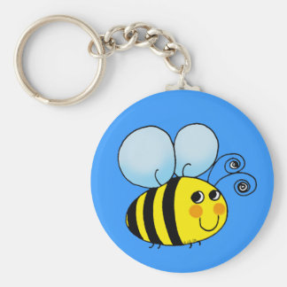 Bumble bee basic round button key ring