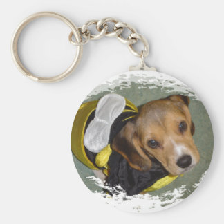 Bumble Bee Beagle Basic Round Button Key Ring
