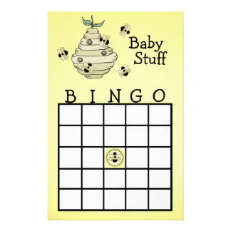 Bumble Bee Bingo party game Customized Stationery