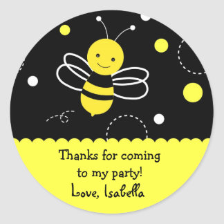 Bumble bee Birthday Party Favour Stickers