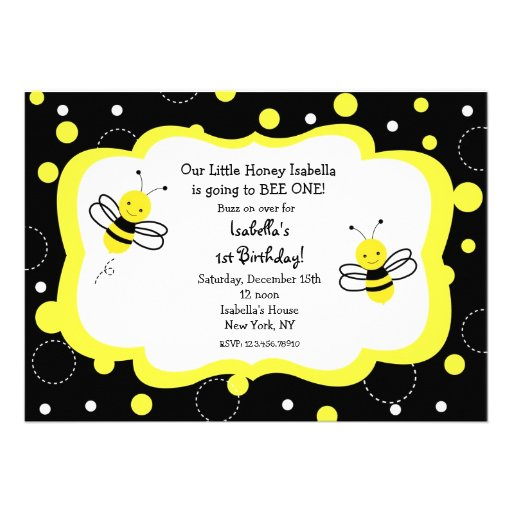 Bumble Bee Birthday Party Invitations Honey