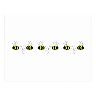 Bumble Bee Bows In A Row Postcard