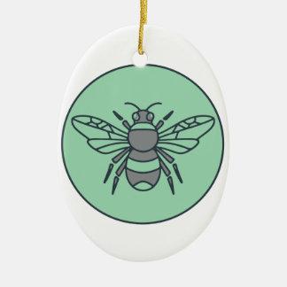 Bumble Bee Circle Mono Line Ceramic Ornament