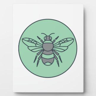 Bumble Bee Circle Mono Line Plaque