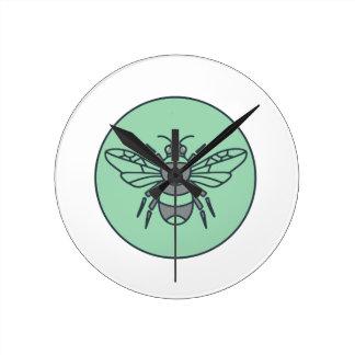 Bumble Bee Circle Mono Line Round Clock