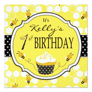 Bumble Bee Cupcake First Birthday 13 Cm X 13 Cm Square Invitation Card