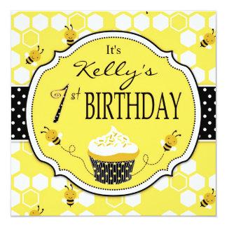 Bumble Bee Cupcake First Birthday 13 Cm X 13 Cm Square Invitation Card