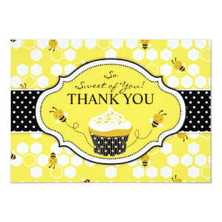 Bumble Bee Cupcake Thank You 13 Cm X 18 Cm Invitation Card