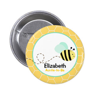 Bumble Bee Customized name tag Button Yellow