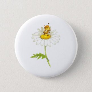 Bumble Bee Daisy Gifts 6 Cm Round Badge