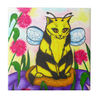 Bumble Bee Fairy Cat Fantasy Art Tile