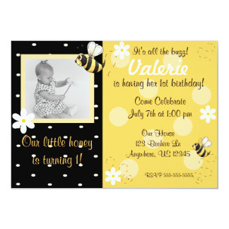 Bumble Bee Girls Birthday Invitation