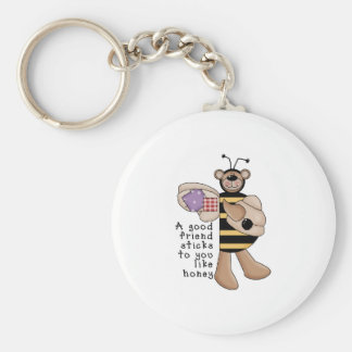 Bumble Bee Good Friend Basic Round Button Key Ring