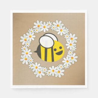 Bumble Bee In A Daisy Wreath Birthday Party Paper Serviettes