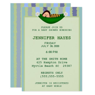 Bumble Bee in Peapod Baby Shower Invitation