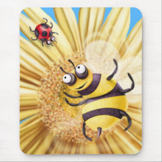 BUMBLE BEE LOVING THE LADY BIRD MOUSE PAD