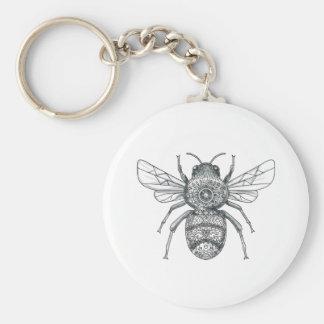 Bumble Bee Mandala Tattoo Basic Round Button Key Ring