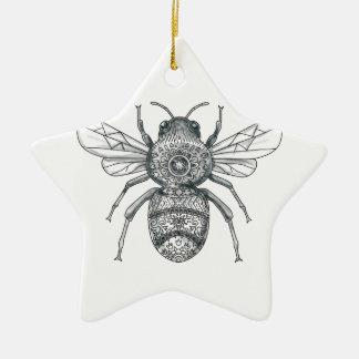 Bumble Bee Mandala Tattoo Ceramic Ornament
