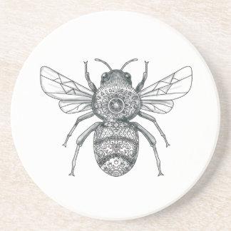 Bumble Bee Mandala Tattoo Coaster