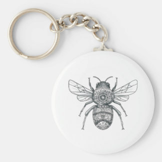 Bumble Bee Mandala Tattoo Key Ring