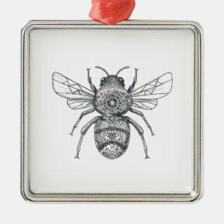 Bumble Bee Mandala Tattoo Metal Ornament
