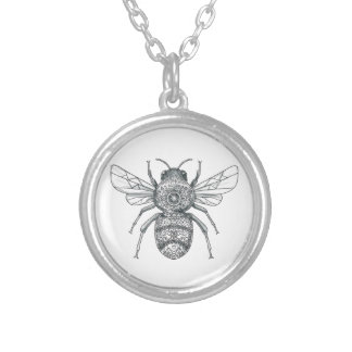 Bumble Bee Mandala Tattoo Silver Plated Necklace