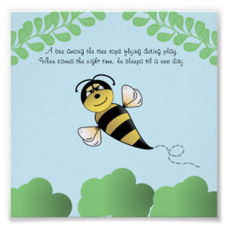 Bumble Bee Nursery or Children's Poster