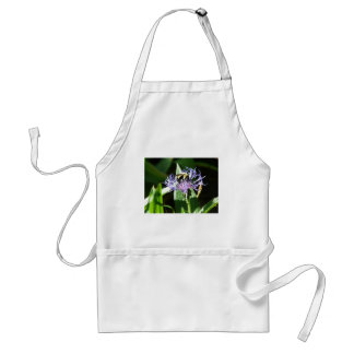 bumble bee on a bachelor button aprons