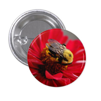 Bumble Bee on a Red Flower 3 Cm Round Badge