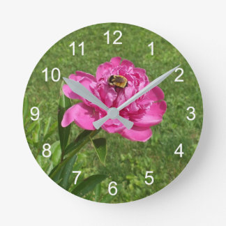 Bumble Bee on a Red Rose Flower Round Clock