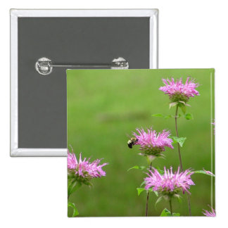 Bumble Bee on Bee Balm Flower Button 2