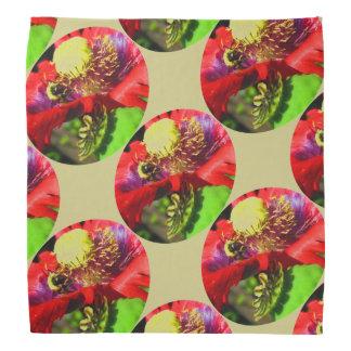 Bumble Bee on Poppy kerchief/ Bandana